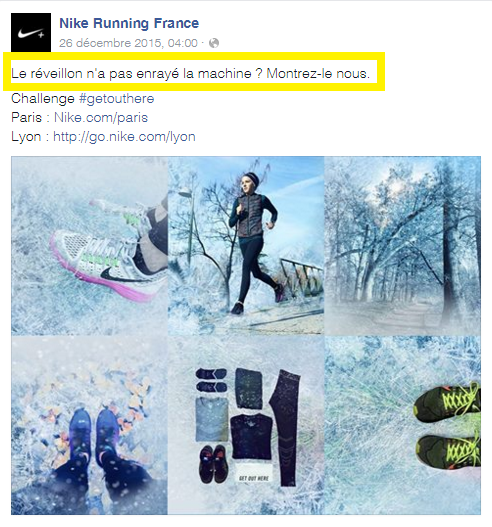 pub facebook exemple nike